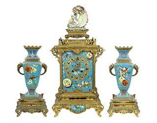 Important Late 19th C. Parisian 3 Piece Clock Set