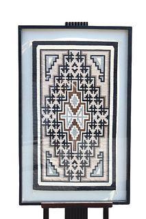 Large Navajo Hand Woven Rug, Framed