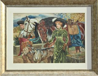 Superb Victorian Signed Watercolor English 19th C.
