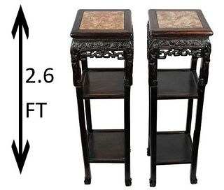 Pair of Rare Chinese Marble/Hardwood Stands