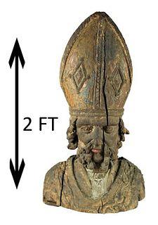 17th C. Italian Carved Bust of a Saint