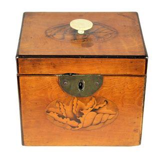 Period Georgian Inalid Shell Rectangular Tea Caddy