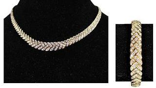 Italian 18K Gold, Diamond Bracelet and Necklace