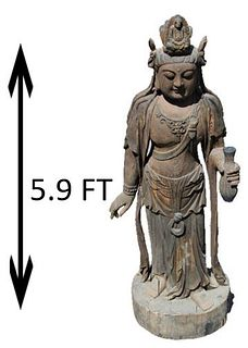 Life Size Chinese Carved Wood Quanyin