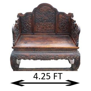 Important Early Chinese Dragon Throne Chair