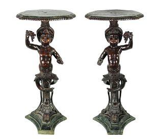Pair of Italian Carved Blackamoor Side Tables