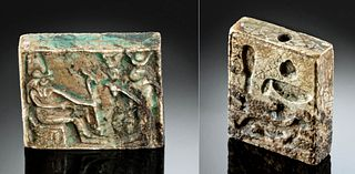 Egyptian Glazed Steatite Pendant Hathor & Horus