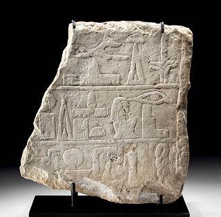 Translated Egyptian Limestone Offering Stele Fragment