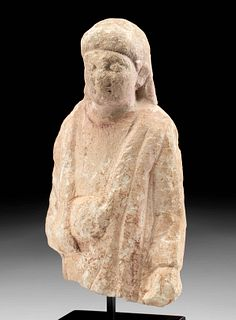 Rare Cypriot Limestone Statue Fragment - Male Votary