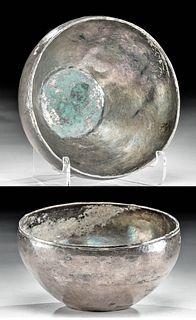 Greek Hellenistic Silver Mastoid Bowl