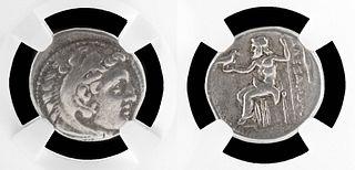 Macedonian Alexander III Silver Drachm NGC Graded