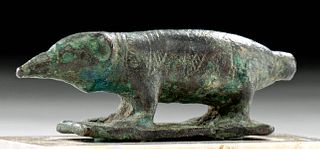 Egyptian Bronze Votive of a Shrew (for Sarcophagus Lid)