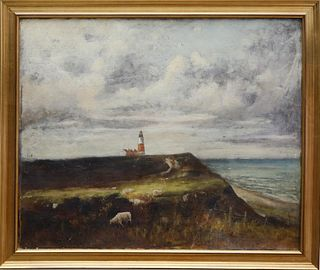 "William Ferdinand Macy Oil on Canvas ""Sankaty Light"", circa 1885"