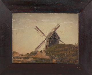 "Wendell Macy  Oil on Door Panel ""Old Mill - Nantucket"", circa 1885"