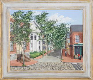 "Julian Yates Oil on Canvas ""Center and Main Street - Nantucket"""