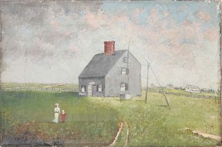 """Naive Oil on Canvas """"Jethro Coffin House, Sunset Hill, Nantucket"""""""