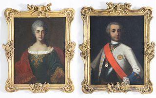 """Pair of Portraits """"Dorothea Augusta Eleonora and Friederich Hermann von der Streithorst"""", circa 1732"""