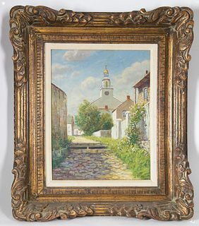 """William Paskell Oil on Canvas """"Stone Alley - Nantucket"""""""