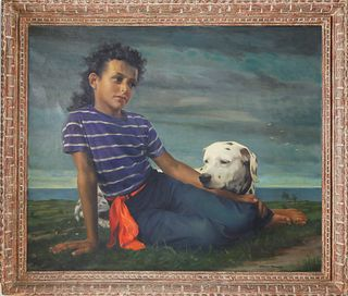 """Elmer Wesley Greene Jr. Oil on Canvas """"Portrait of a Young Girl and Her Dog"""""""