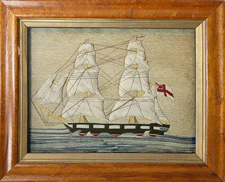 "British Woolwork ""Two-Masted Man-O-War"", circa 1840"