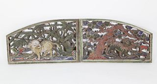 Pair Chinese Carved and Polychrome Architectural Ornamentations