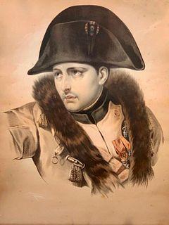 Antique Color Lithograph of Napoleon Bonaparte