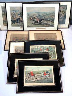 Collection of 10 Hunt Prints, Henry Alken, Charles Hunt, R.G.Reeve