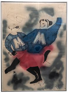 "Jeffery F. Beardsall , ""BLUE MEENIES"", Signed Mixed Media on Paper, C.1970s, w/COA & APR$10K!+"