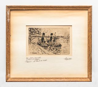 "Paul Signac, ""Paris: Pont Des Arts With Tugs"" Signed Original Etching, 1927 -w/CoA- $20k APR!!+"