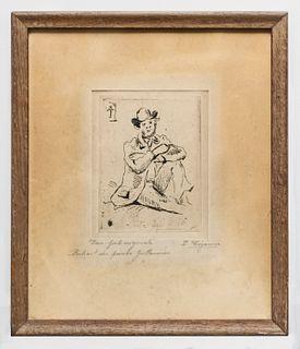 """Paul Cézanne etching """"Portrait of Guillaumin w/Hanged Man"""" 1873 -w/CoA- APR $50K!+"""