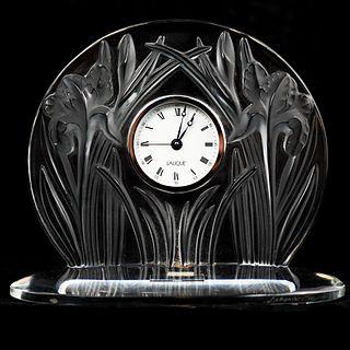 "Lalique France Signed ""Irises"" Clock"