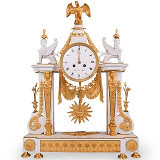 19th Cent. French Empire Biscuit Sevres Clock