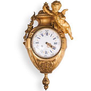 19th Cent. Cartel Gilt Bronze Hanging Clock