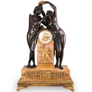 Monumental 19th Cent. Gilt Bronze and Siena Marble Clock