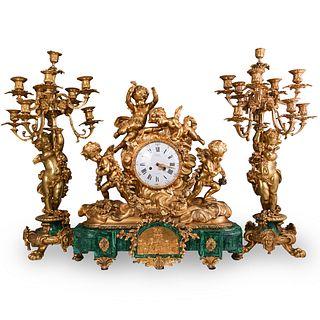 (3 Pc) 19th Cent. French Gilt Bronze and Malachite Clock Set