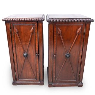 Pair Of English Regency Carved Mahogany Pedestal Cabinets
