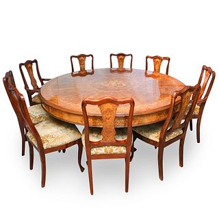 Marquetry Inlaid Dining Table & Chairs