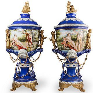 Pair Of Dresden Nautical Porcelain Urns