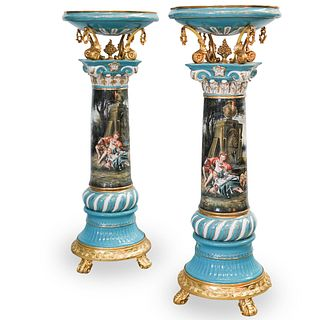 Pair Of Sevres Porcelain & Bronze Pedestals