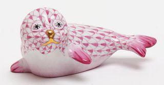 """Herend """"Seal"""" Fishnet Porcelain Figure"""