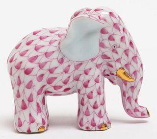 """Herend """"Elephant"""" Fishnet Porcelain Figure"""
