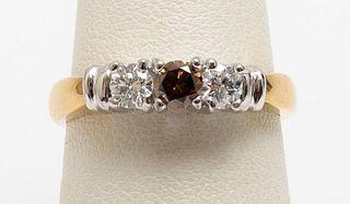 14K Yellow & White Gold Cognac Diamond Ring