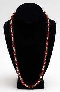 Vintage 14K Yellow Gold & Carnelian Bead Necklace