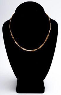 Italian 14K Yellow Gold Omega Torque Necklace