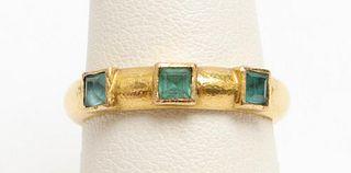 18K Yellow Gold Hammer Finished Aquamarine Ring