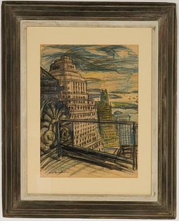 "Carl Sprinchorn ""New York City"" Crayon on Paper"