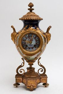 A.D. Mougin French Porcelain & Ormolu Mantel Clock