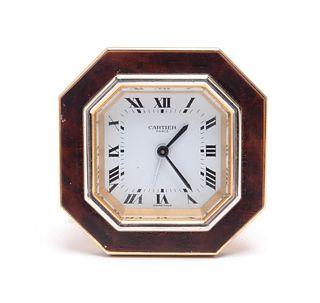 Cartier '20th Century Fox' Brass & Enamel Clock