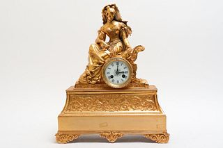 French Medaille D'Argent Gilt Metal Mantel Clock
