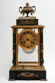 French Neoclassical Brass & Glass Mantel Clock